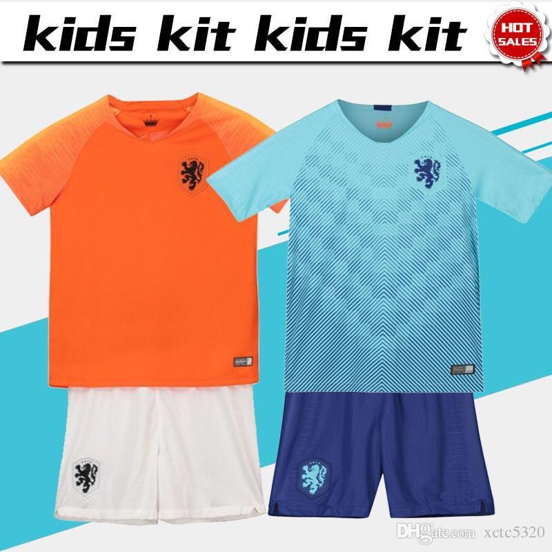 808c4daa 2019 Kids Kit Holland Home Orange Away blue Football Jerseys 2018/19 #10  MEMPHIS #9 DOST Nederland Soccer Jerseys Child Soccer Shirts pants