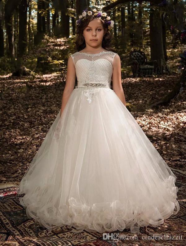 425609e88 Cheap Floor Length Flower Girl Dresses Train Discount Printed Satin Kids Girls  Dress