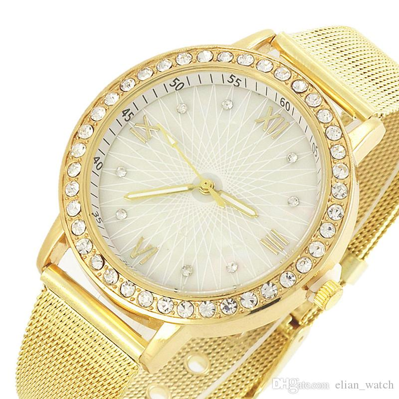 2019 Hot Brand Gold Watch Fashion Women Dress Rhinestone Quartz Watch Casual Women Stainless Steel Wristwatches Female Clock