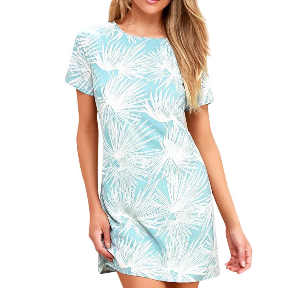 Compre Mangas Cóctel Vestido Mini Vestido De Mujer Hojas Estampado Corto O  Cuello Tops Mujer Vestido De Fiesta Casual Summer Beach Vestidos  SYS A   38.09 ... 245a8d38a68a