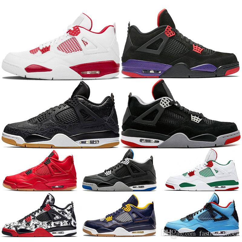 528a0f15e5804f 2019 IV Basketball Shoes 4s Raptors Bred Alternate 89 Traivs Scotts Thunder Black  Cat Pure Money GS Motorsport Tattoo Designer Sneakers Sports From ...