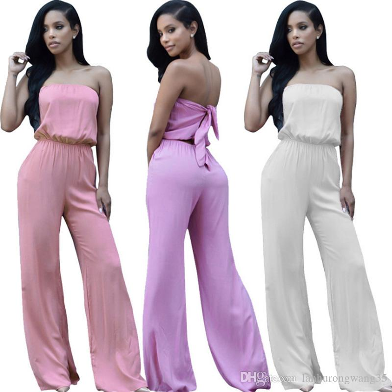 2ed5c3834a8 2019 Plus Size Wide Leg Jumpsuit Women Romper Sexy Club Party Sleeveless  Strapless Pink Purple White Overalls Flare Trousers Macacao YD3305 From ...