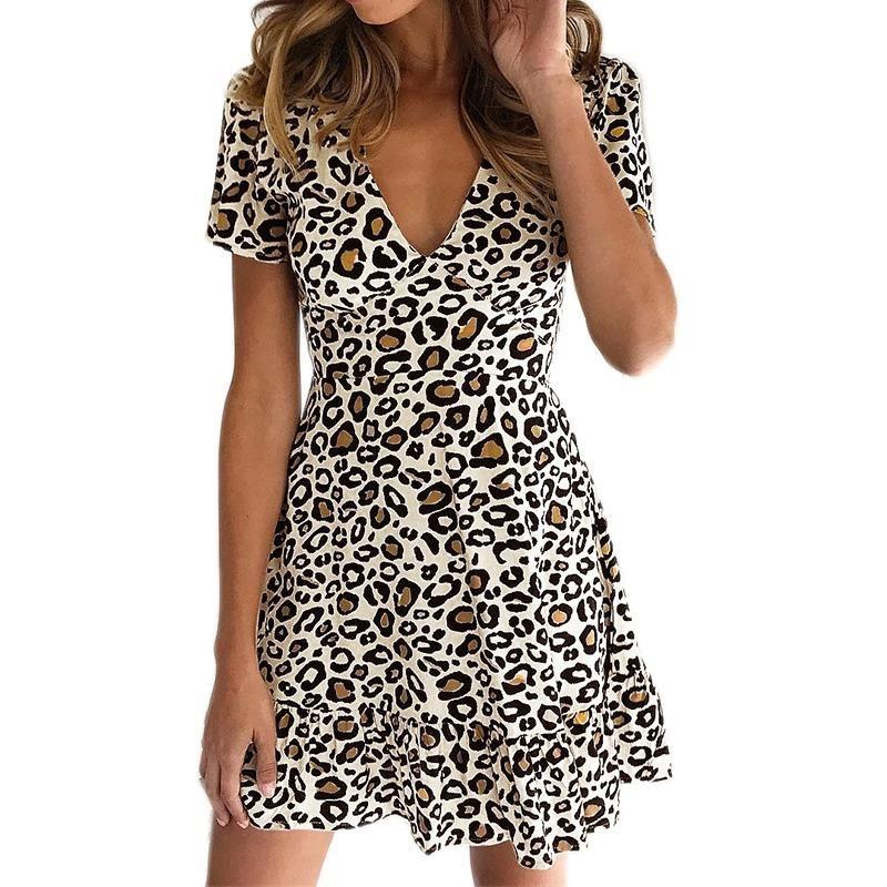 716b3200 Fashion Leopard Print Dress Women Animal Print Summer V-Neck Short Sleeve  Dress Ruffles Patchwork Mini Party Beach A-Line Dres