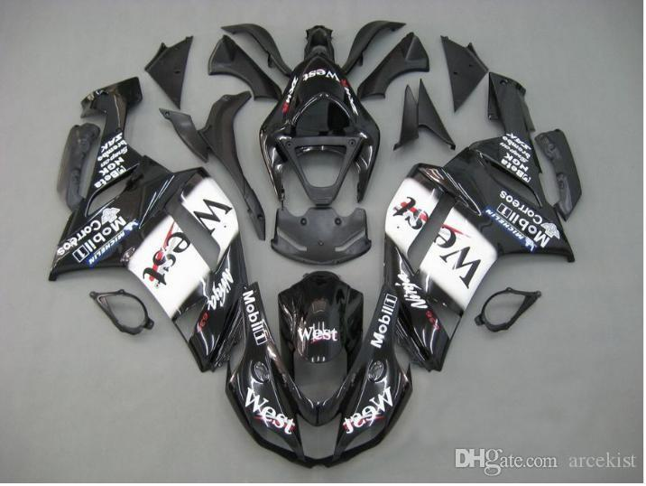 New ABS bike Fairing kits fit for 07 08 ZX 6R 636 2007 2008 kawasaki Ninja ZX6R ZX636 600cc ABS fairings Bodywork set custom west