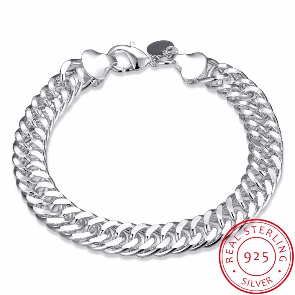 b12d49888b5ac LEKANI Men s Fine Jewelry 10mm Wide 8   20CM Bracelet 925 Sterling ...