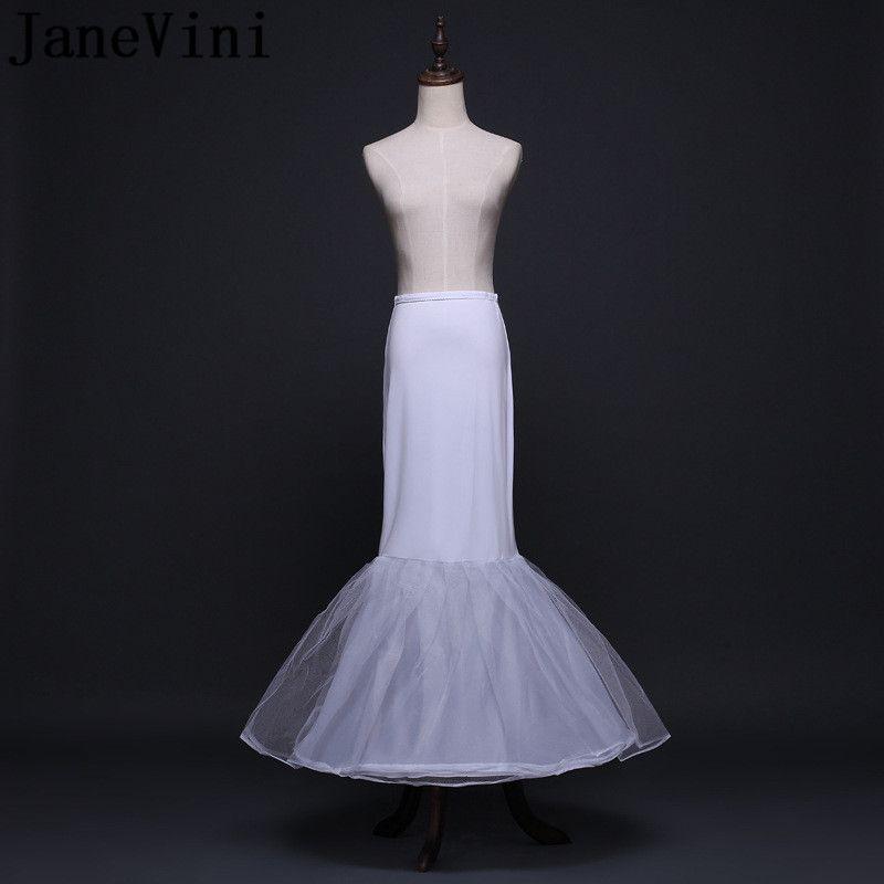 1d96ec738 JaneVini blanco sirena enagua larga para el vestido de boda de la boda  Petty Coat Underskirt Tul Blanco Mujeres nupcial Cremolina enaguas