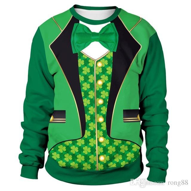0ab42388 Irish Festival St. Patrick's Day Gentleman Suit 3D Print Shamrocks Men/women  Turtleneck Sweatshirts Green Dinner Evening Clothes