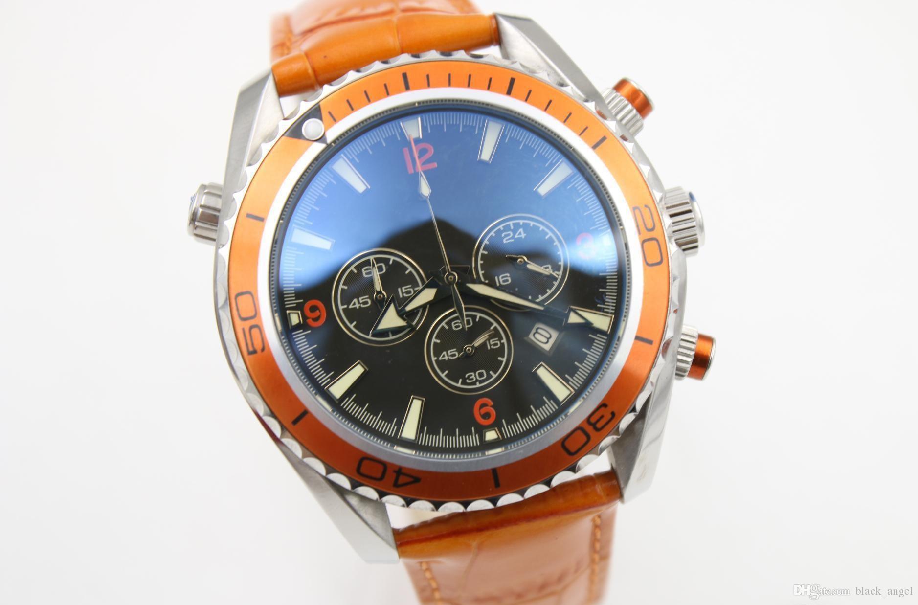 b2d674463035 Compre 2018 Vendedor Caliente Reloj Hombres Cuarzo Cronómetro Coaxial  Planeta Océano Función De Cronógrafo Reloj Naranja Cinturones De Cuero  Vestido Relojes ...