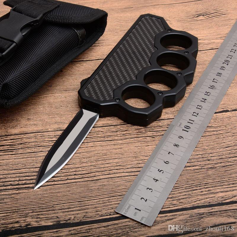 MH High Quality Knuckle Duster Auto Tactical knife D2 Double Edge Satin Blade Steel + Carbon Fiber Handle Outdoor EDC Rescue knives