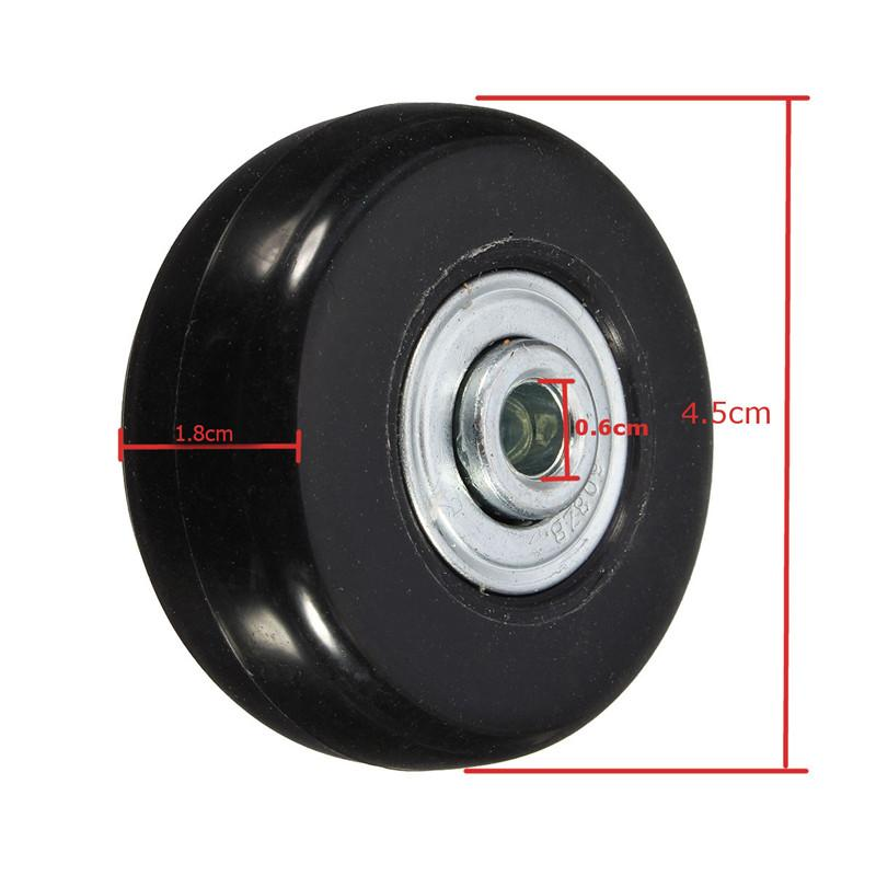 45x18mm Luggage Wheel Suitcase Replacement Wheels Axles Deluxe Repair Rubber Travel Luggage Wheel Black with Screw