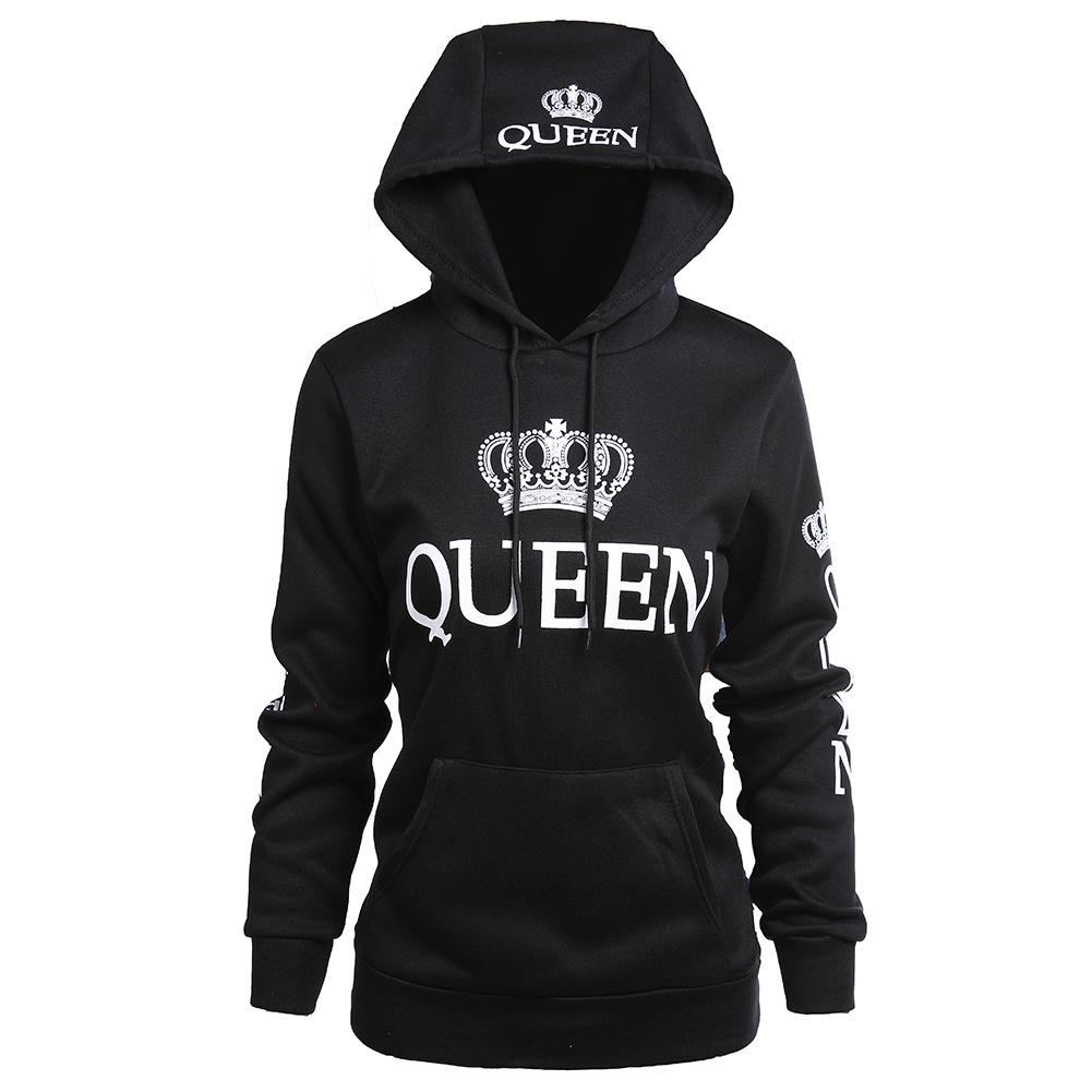 Women Clothes Designer Couple Hoodies Casual Hooded QUEEN KING Printed Sweatshirts Pullovers