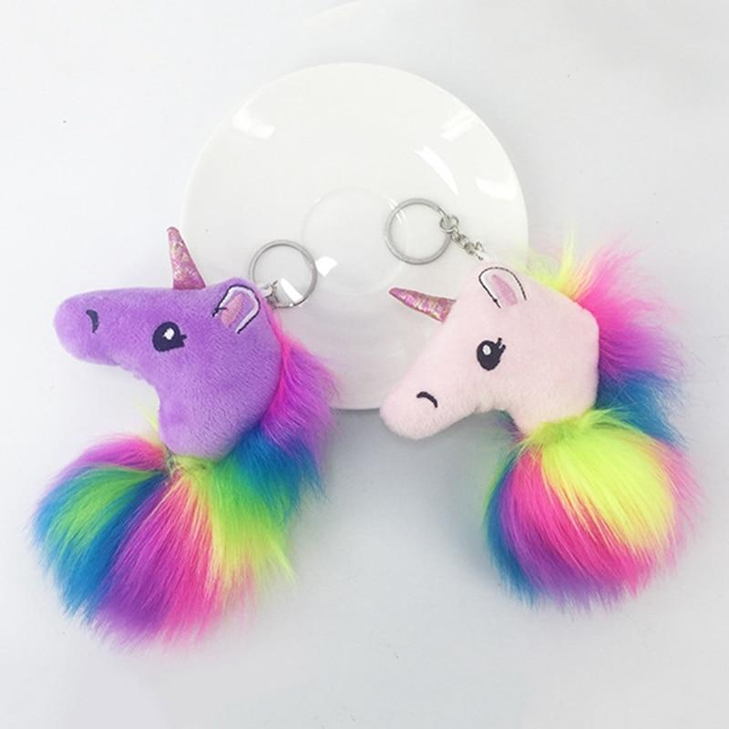 a66f6c930b High Quality Anime Horse Toy Cute Metal Unicorn KeyChain Plush Toy Pendant  Women Fluffy Fur Pom Pom Keyring Bag Hang Plush Cute Keychains Leather Key  Holder ...