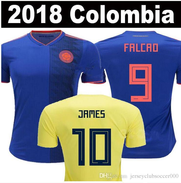 2019 2018 World Cup Colombia Away Blue Soccer Jersey  10 JAMES National  Team Soccer Shirt 2018 World Cup FALCAO Away Blue Football Uniform Sales  From ... 6053afa95