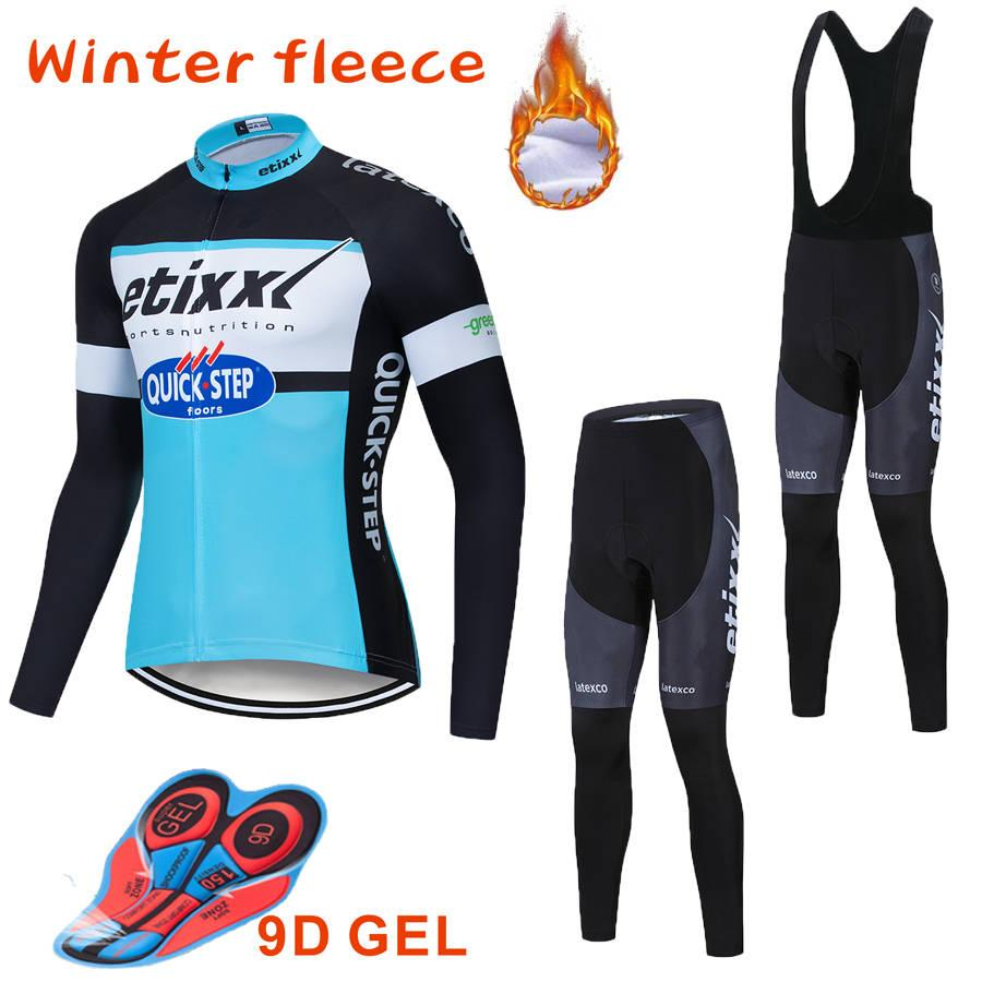 Fleece UCI Tour de France ETIXX Quick Step Shorts Cycling Jerseys Sets Bike Jersey Breathable Cycling long Sleeves Mens Cycling Clothing