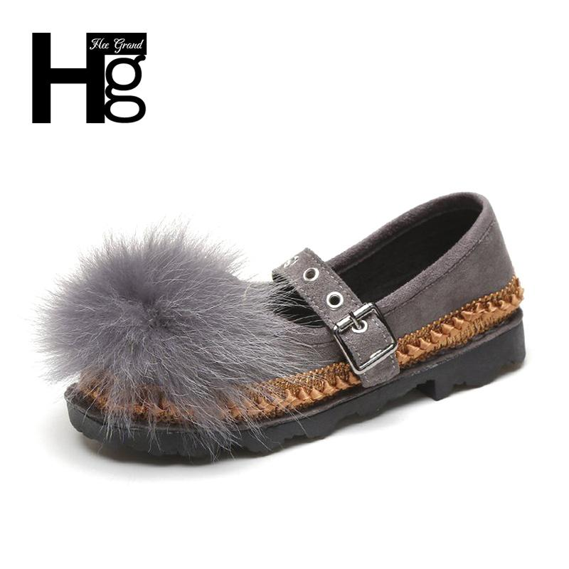 Designer Dress Shoes HEE GRAND Autumn 4 Color Women Black White Flock Buckle Strap Women for Women Girl Student Casual