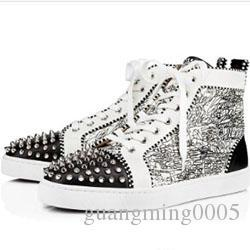 Top Luxury Fashion Flat Casual Shoes Printed Studs High-Top Lace Up Leather Ladies Party Designer Sneakers h0516