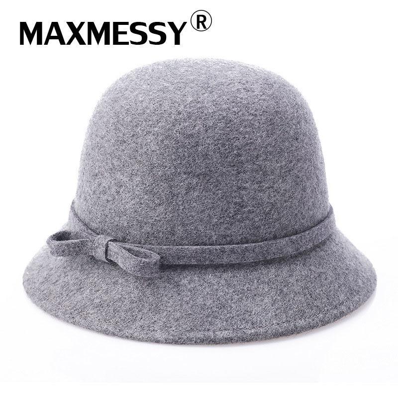 Compre MAXMESSY Vintage Con Estilo Sombreros De Invierno 100% Lana Para  Mujeres Elegante Sombrero Para Dama Niñas Mujer Fieltro Bowler Cap MH132  D19011102 A ... 2f69ad41c24