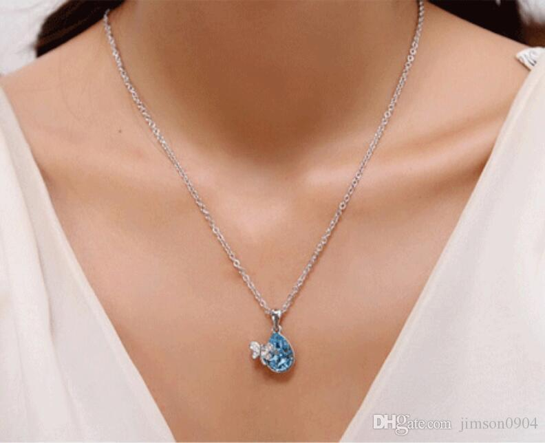 d2311ab1a17d5 Free shipping fashion jewelry Using Swarovski Elemental Crystal Necklace  Miss Butterfly Small commodities Ornaments Pendant
