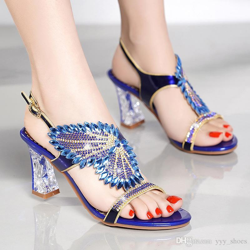 eb0a38e0e06 Compre Fiesta De Boda De La Moda Zapatos De Las Mujeres Zapatos Abiertos  Del Dedo Del Pie Zapatos Sandalias Del Verano Graduación Tacones Gruesos  Zapatos ...