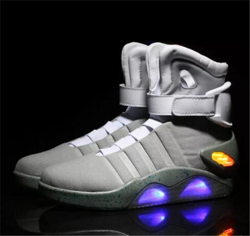 c200f3cf0c60 New Fashion Air Mag Back To The Future LED Shoes For Men Marty McFly Glow  In The Dark Gray Sneakers Black Red Back To The Future Sneakers White  Mountain ...