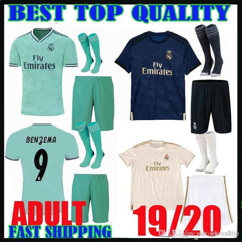 sports shoes fe9ee 51d42 adult kit 19 20 real madrid SOCCER jerseys 2019 2020 hazard camiseta de  futbol BENZEMA bale MARIANO third green home away men football shirt