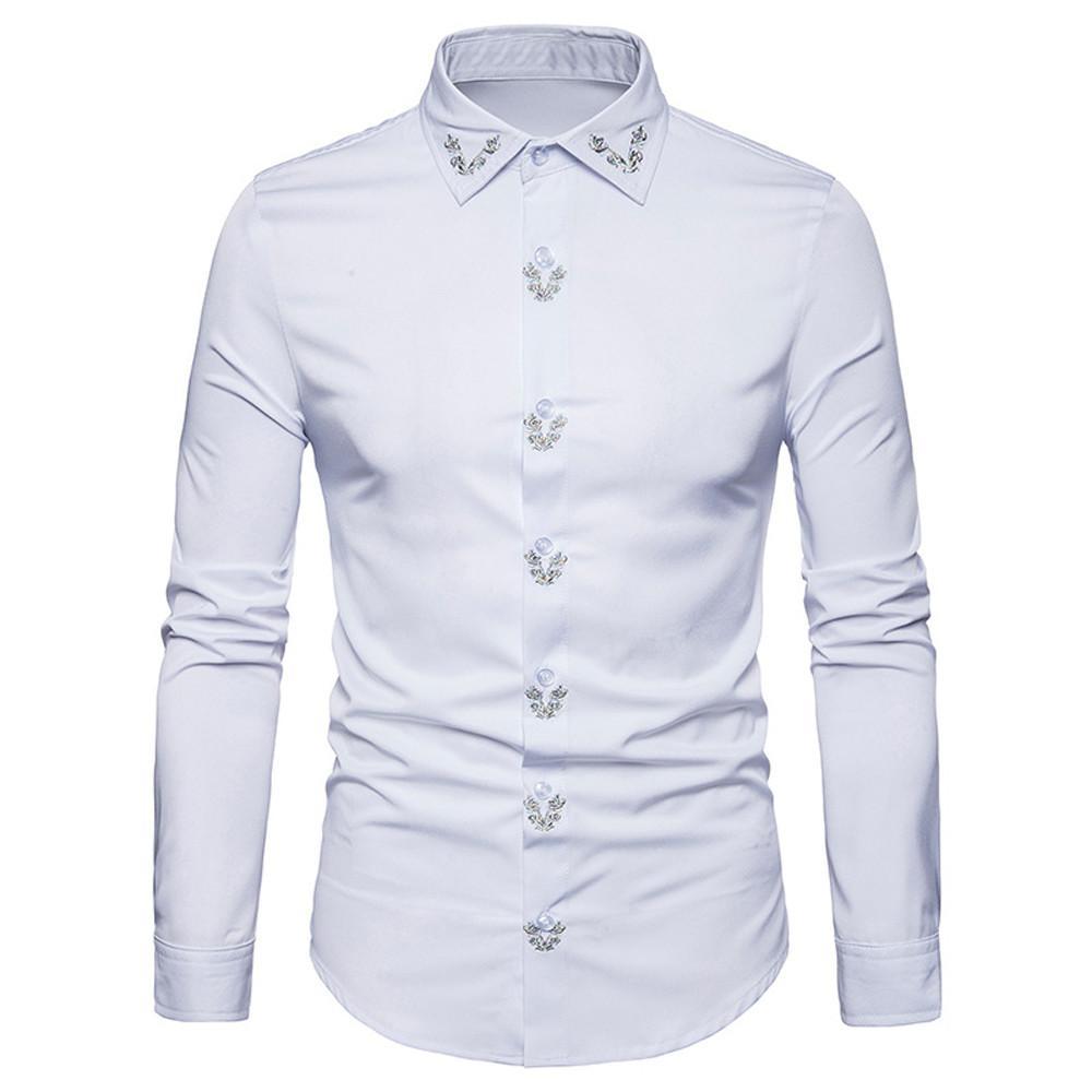 6e59cee57 2019 Men Shirt Hipster Men Shirt Slim Fit Long Sleeve Printed Button ...