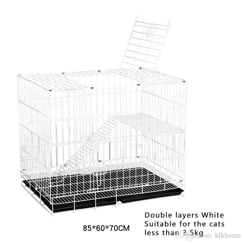 Double Layers Metal Cat Playing Pet Houses With Bottom Tray Wheels Folding Large Small Cats Crates Cage Supplies