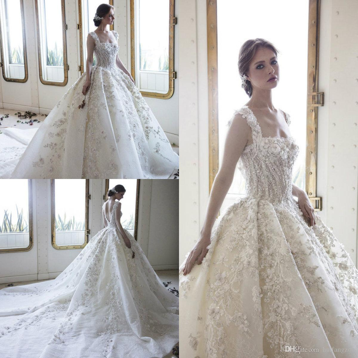 c66041e17e Discount Ziad Nakad Vintage Wedding Dresses 2019 Luxury 3D Floral Appliques Ball  Gown Backless Wedding Dress With Beads Custom Made Sexy Bridal Gowns Latest  ...