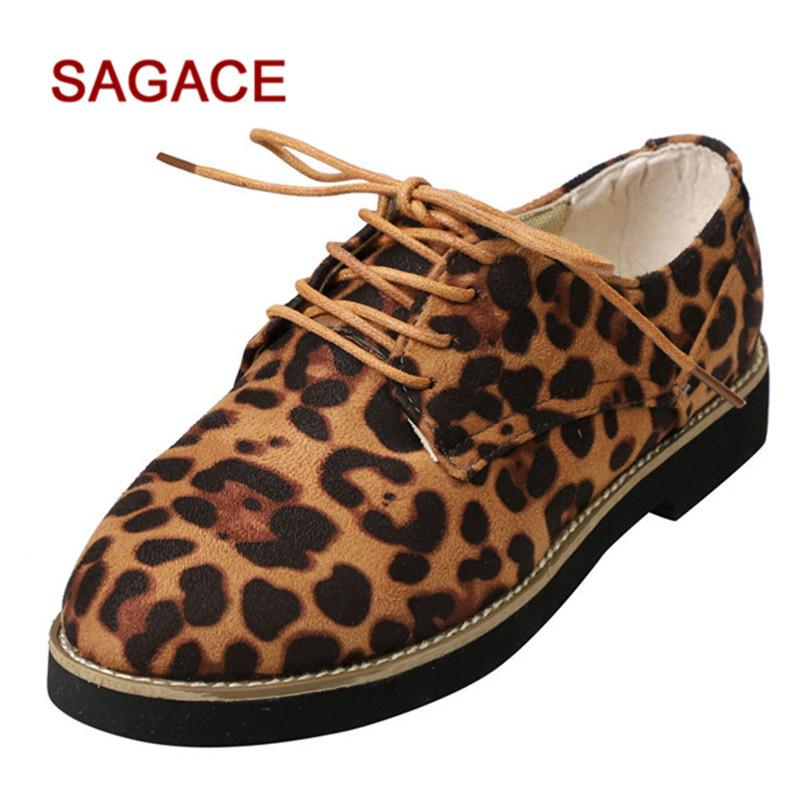 8e64aeb09e05 Designer Dress Shoes SAGACE Women Round Toe Leopard Print Ankle Suede  Casual Lace Up Single Tennis Shoes Oxford Shoes From Deal11