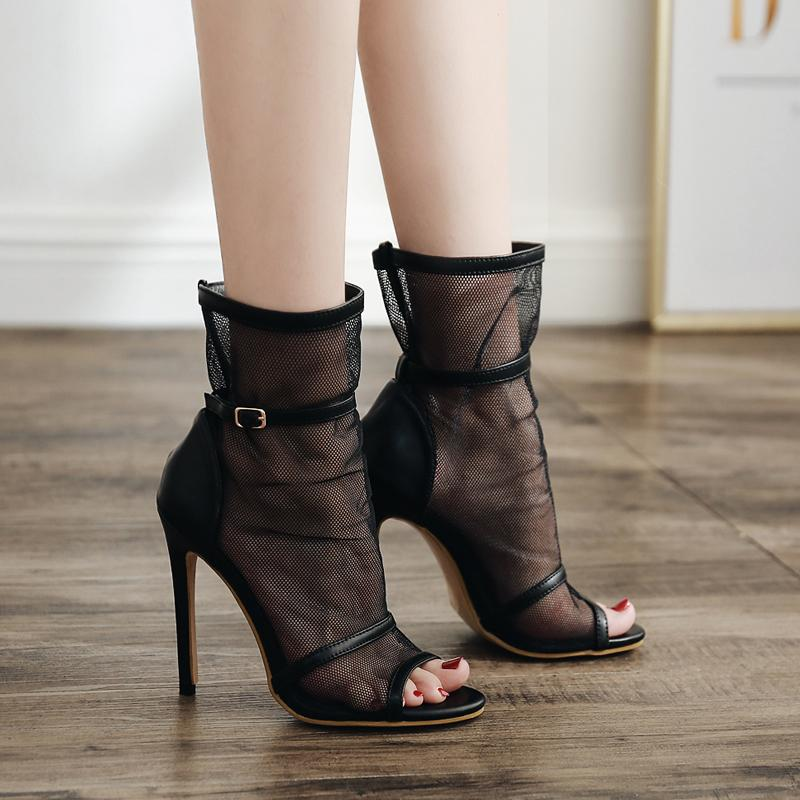 d5421d725b52dd Woman Mesh Heels Ankle Boots Luxury Hollow Sandals Buckle Peep Toe Booties  Fashion High Heel Pumps Ladies Zapatos De Mujer Black Riding Boots Cheap  Shoes ...