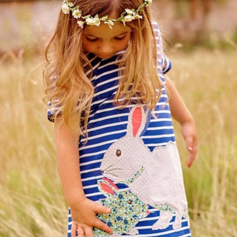 74d119b46 2019 New Pretty Kids Baby Girls Cute Bunny Short Sleeve Dress Navy ...