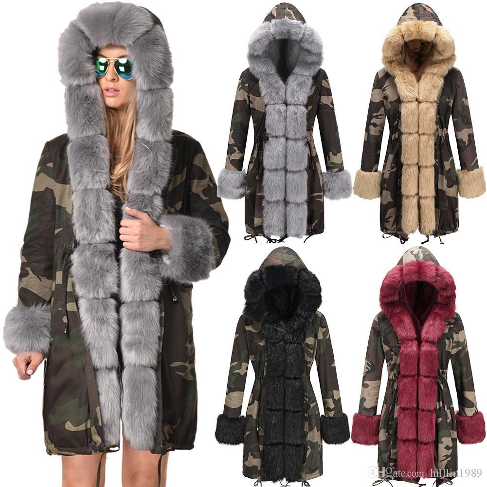 095458e1f47f6 Winter Women's Trench Coats Long Faux Fur Collar Hooded Dust Coat Warm  Women's Three-quarter Coat Long Sleeve Camouflage Jacket