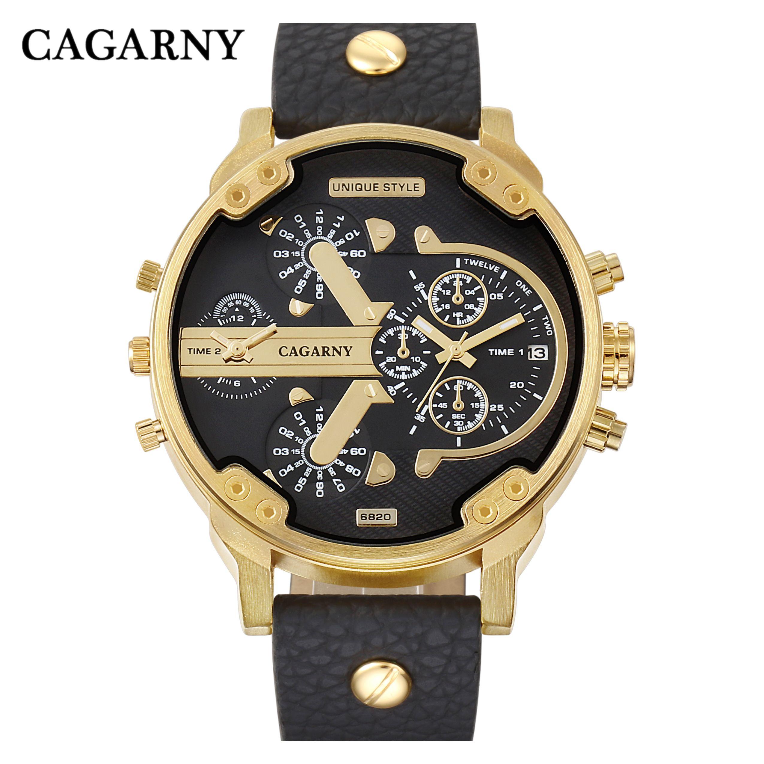 6773b4efc893 Compre Reloj Grande Hombre Militar Relojes Para Hombre Zonas Horarias Fecha  Reloj De Cuarzo Hombre Cuero Analógico Deporte Relogio Masculino Cagarny  D6820 A ...