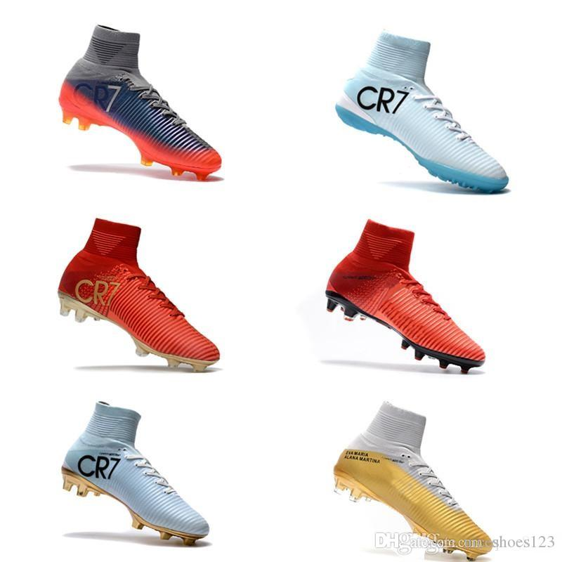 9153415119e 2019 Original White Gold CR7 Soccer Cleats mens Mercurial Superfly FG V  Kids Soccer Shoes Cristiano Ronaldo Football shoes