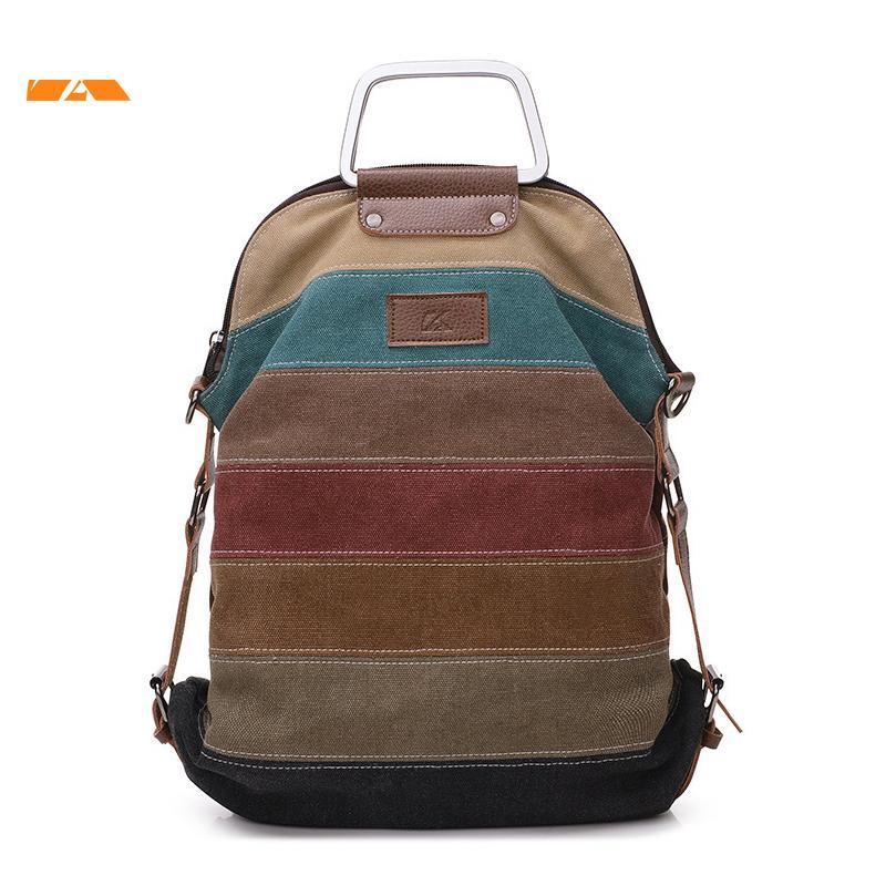 Kvky 2 In 1 Multifunction Women Messenger Bags Canvas Patchwork Female Shoulder  Bag Large Capacity Ladies Tote Crossbody Bag Laptop Rucksack Backpacks For  ... ecdcf2253459b
