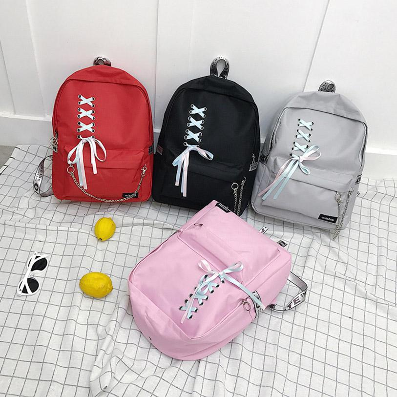 6db4aa1e36 Female Women Canvas Backpack Ribbons Hanging Chain Ring Lady Girl Student  School Large Capacity Laptop Bag Mochila Bolsas Bags Rucksack From  New house1