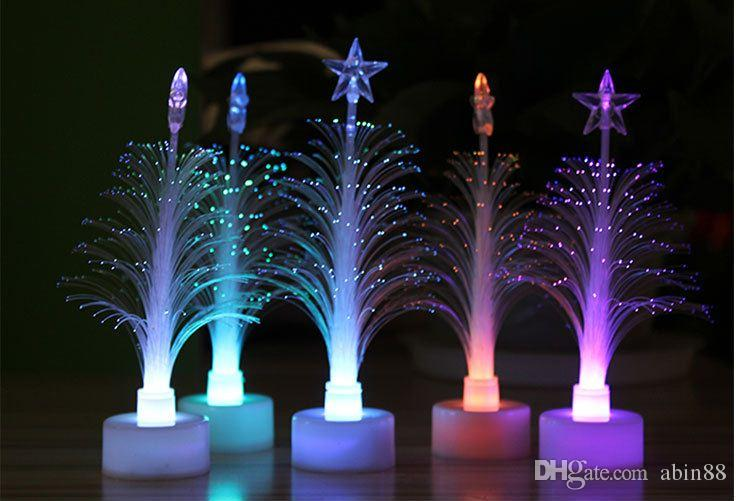 2019 New Mini Christmas Tree Shape Color Changing Small Night Light LED Fiber Optic Nightlight Lamp Christmas Party Home Decoration