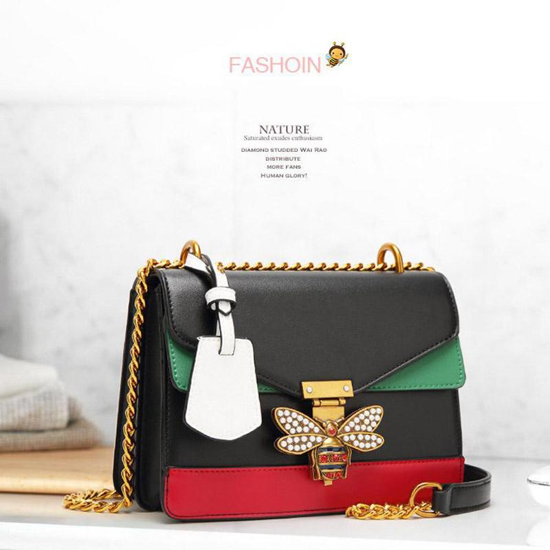 5596ea75deea Handbags Women Color Splicing Little Bee Bags Fashion Zipper Designer  Handbag Casual Shoulder Messenger Bag New Ladies Crossbody Bags Evening Bags  Leather ...