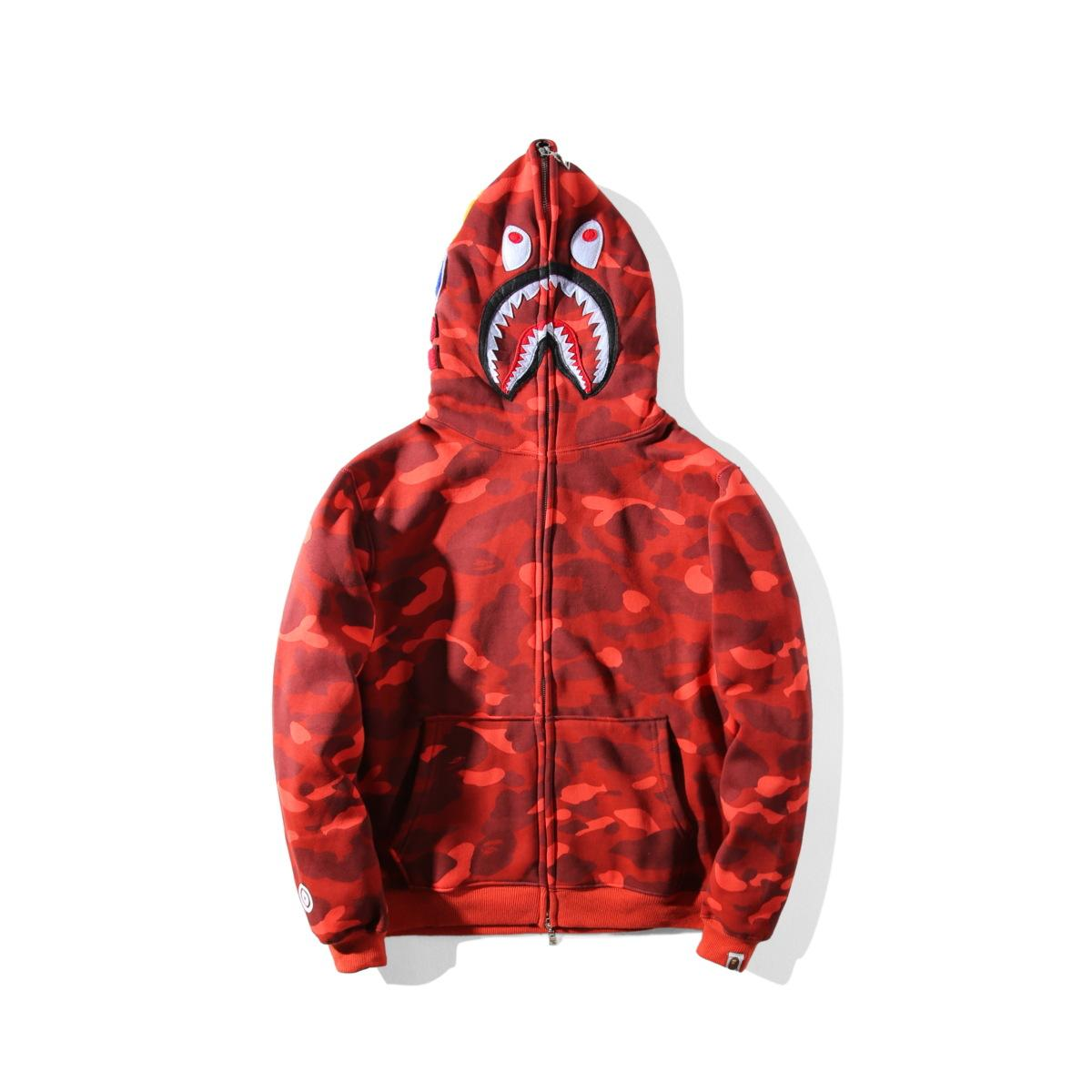64f578b812b2 2019 2018 Men S Ape Women Clothes Camouflage Shark Printing Casual Sweater  Off A Bathing Aape Men Women Hooded Loose Jacket White Men S Clothing From  ...