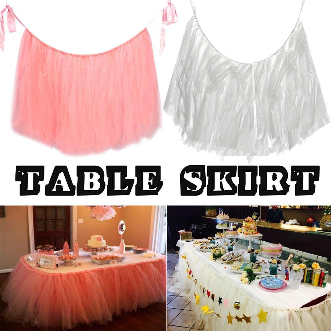 8419a1f3f 1x falda de mesa tul tutú vajilla para la decoración de la boda fiesta de  bienvenida al bebé rosa blanco decoración para el hogar textil