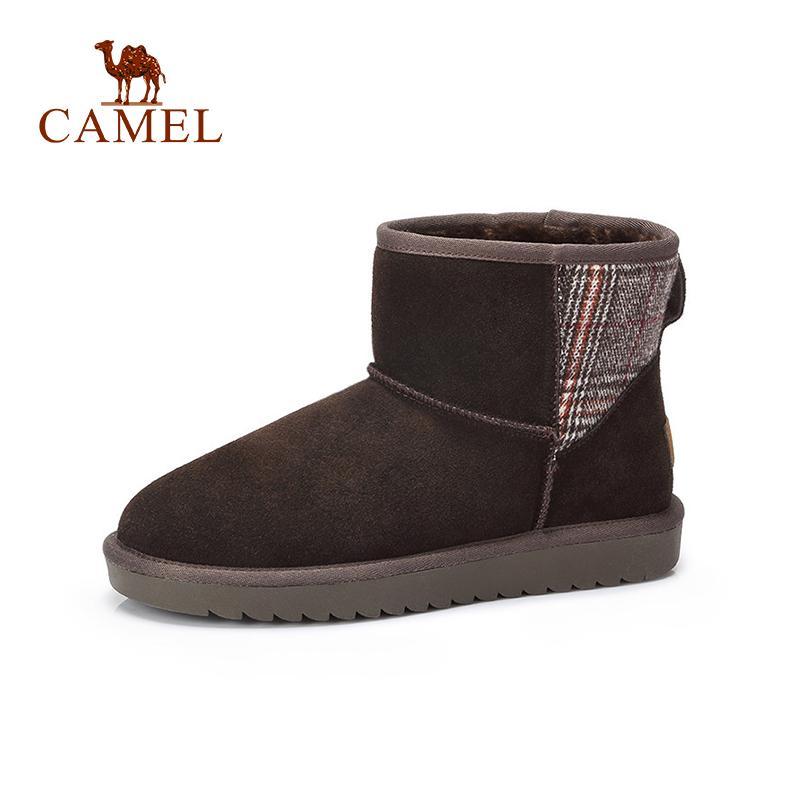 super popular 1ca1d 9a47c CAMEL Winter Ankle Boots Women Cow Suede Fur Warm Snow Boots For Ladies Low  Flats Short Plush Fashion Casual Women Shoes Woman