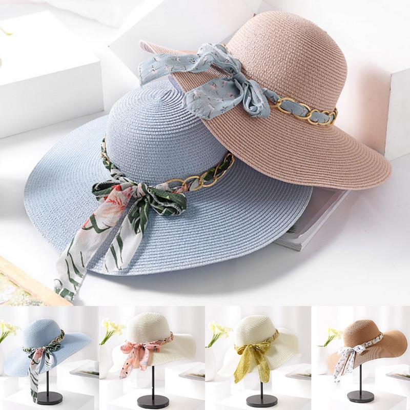 5a2d1337ff4 Bucket Hats Women Elegant Summer Beach Hat Solid Bow Wide Brim Sunshade  Korean Style Womens Sweet Style Trendy Outdoor Ladies Pillbox Hat Headwear  From ...