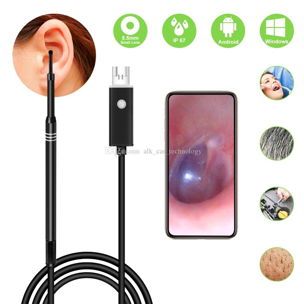 2-in-1 USB HD Visual Endoscope Ear Health Care Cleaning Spoon Tool 5.5mm Multifunctional Earpick With Mini Camera For Android