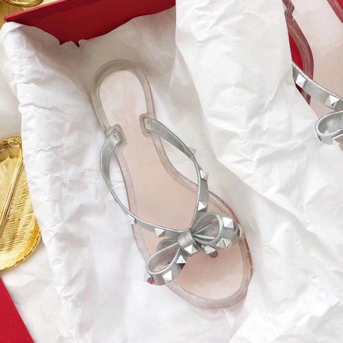 Classic Woman Summer Rivet slippers big bowknot Flip Flops sexy Beach Slipper Femininas Flat Jelly luxury Designer PVC Sandals Size 35-41
