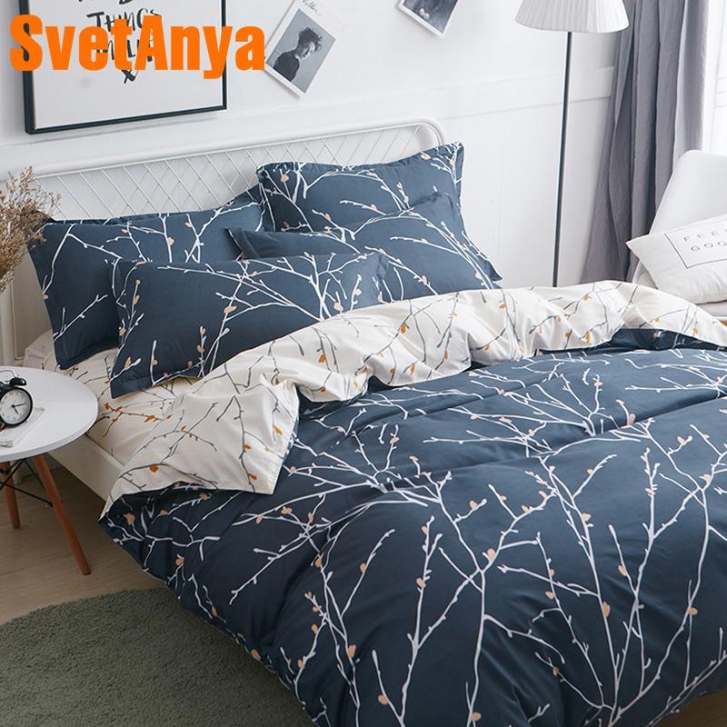Svetanya Print Bedding Set Cheap Sheet Pillowcase Blanket Duvet Quilt Cover Set Bed Linens