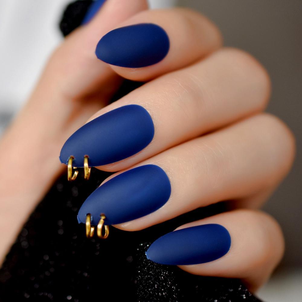 Gold Ring Matte Dark Blue Stiletto Fake Nails Oval Almond Pointed