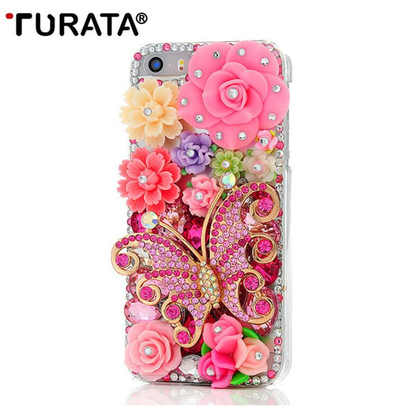 Hecho a mano Bling Rhinestone Diamond Butterfly Colorful Flowers Pearl Hard Back Phone cubierta de la caja para iPhone5 iPhone 5 5G 5S SE