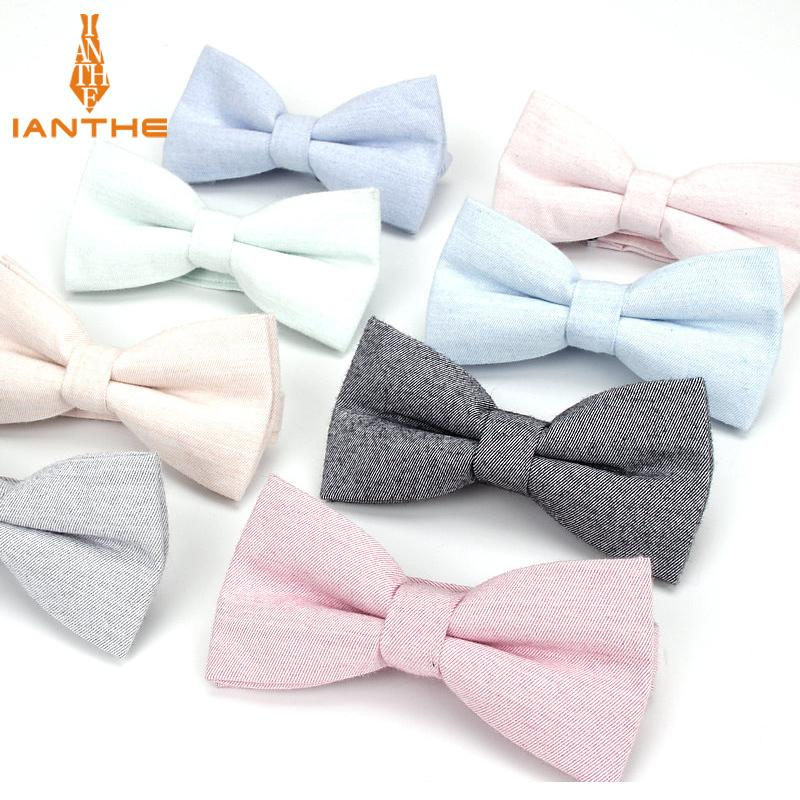 c6b57c893bfa Brand New Men Fashion Bow Tie 100% Cotton Butterfly Cravat Red Blue Pink  Solid Color Bowtie Tuxedo Bows Male Accessories Gift D19011004 Slim Ties  Wool Ties ...