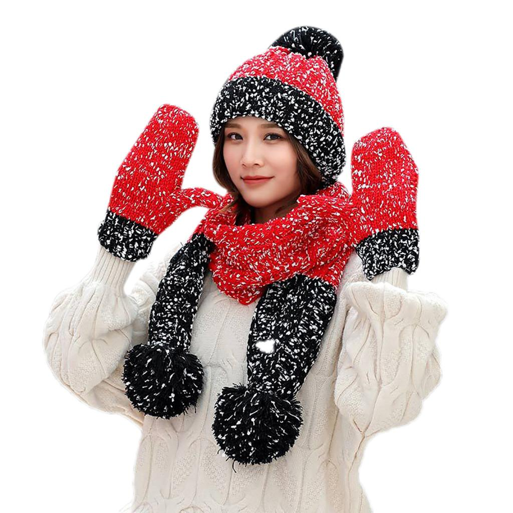 c15e27c3ff5e47 Großhandel 3 Stücke Frauen Winter Warme Multicolor Gestrickte Venonat  Pferdeschwanz Beanie Mütze + Schal + Handschuhe Set Damen Strickmütze Warme  ...