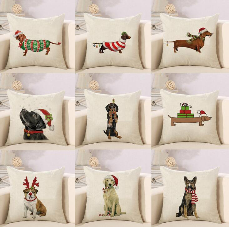 Pleasant Dhl 45 45Cm Dachshunds Sausage Dog Cushion Covers Hand Painting Dogs Art Cushion Cover Merry Christmas Decorative Linen Pillow Case Ncnpc Chair Design For Home Ncnpcorg